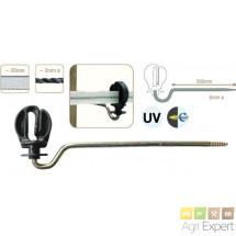 Isolateur écarteur pour fils et cordes et ruban jusqu'à 20mm, vis auto-taraudeuse longueur 200mm. Boite de 10 pièces.
