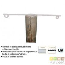 Isolateur écarteur Flexibar bilatéral longueur 60cm vendu avec fixation pour piquet bois. Sachet de 10 pièces.