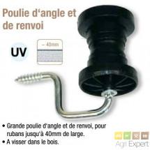 Poulie d´angle et de renvoi avec support, pour fils, cordes ou Ruban jusqu'à 40mm de large. Sachet de 4 pièces.