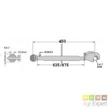 Barre de poussé cat2 rotule/chappe L670/910 mm