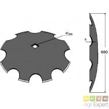 Disque crénelé diamètre 660x6 carré 41 mm pour cover-crop