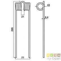 Dent d'andaineur Heublitz L295 D6,4mm réf.: HB64L