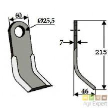 Couteau Y broyeur Seko 60X7X L215mm