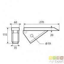 Soc de décompacteur Quivogne L270x70 mm Intérieur 36mm
