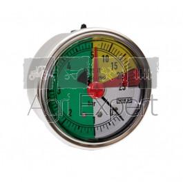 Manomètre de pulvérisateur 0-5-20-25 bars Ø 63 mm avec aiguille rouge, raccord arrière, résistant aux engrais liquides Wiha ISO 16119-2