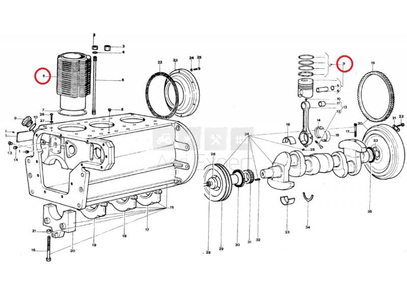 Kit Cylindre Piston Lamborghini Moteur Fl1003 Fl1003 3 Fl 1003 2 Fl 1003 Tracteur Lamborghini
