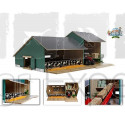 Etable en bois pour animaux avec hangar pour tracteurs jouet Kids Globe 610200 échelle 1:32