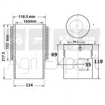 Cylindre piston moteur SAME 1056PS, 1056PTI tracteur Galaxy 170, Hercules 160, Laser 90, Laser 150, Leopard 90, 0.071.0065.6/20