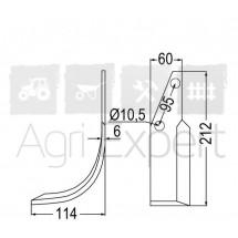 Lame EA95 60x212x6 mm gauche rotavator Howard HR4 85