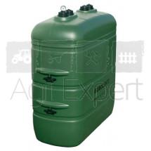 Cuve de stockage GNR extérieure PEHD 1500 L couleur Verte avec rétention et jauge pneumatique intégrée.