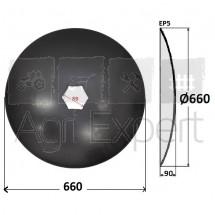 Disque bombé lisse diamètre 660x5 hexagonal 89 mm