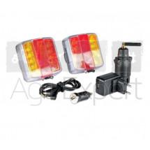 Kit de feux arrière sans fil, eclairage led magnétique connexion WIFI porté 30 m LIBERKIT pour remorque