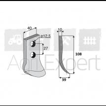 Lame de cureuse rotative MALETTI AFR/0, AFR/1C, AFR/0S, AFR/0S-3C, AFR/2R, 105x40x10 mm