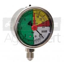 Manomètre de pulvérisateur 0-5-20-25 bars Ø 63 mm avec aiguille rouge, raccord inférieur, résistant aux engrais liquides Wiha ISO 16119-2