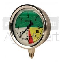 """Manomètre de pulvérisateur 0-5-20-25 bars Ø 100 mm, raccord inférieur 1/4"""", résistant aux engrais liquides, Wiha ISO 16119-2 ( ex EN 12761 ), 0-25Bar"""