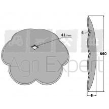 Disque lobes concaves lisse diamètre 660x6 carré 41 mm