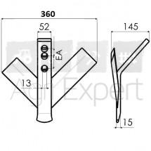 Soc triangulaire branches inégales 360X8 EA50/75, Soc vigeron à branche inégale droit.