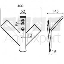 Soc triangulaire branches inégales 360X8 EA50/75, soc vigneron branche inégale gauche